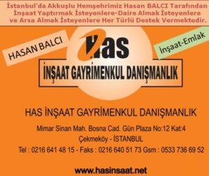 HAS İnşaat Gayrimenkul Danışmanlık Firması Sitemizde Yayınlanan İş Yerinin Reklam Süresini Yenilemiştir. Teşekkür Ediyoruz. Akkuşlu Hemşehrimiz Hasan BALCI ve Ekibi İstanbul'daki Akkuşluların Mülk Edinmesinde Gereken Kolaylıkları Gösterecektir.