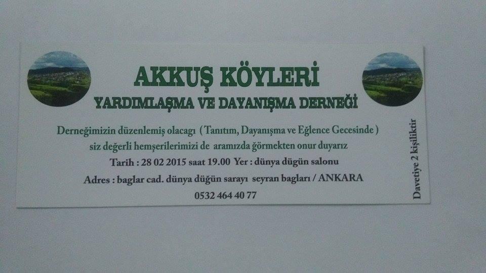 Akkuş Derneği Ankara'daki Gece İçin Davetiye Hazırladı