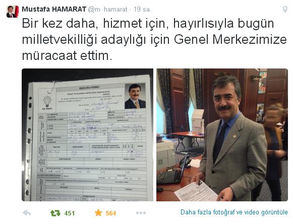Mustafa HAMARAT 3. Dönem Milletvekili Aday Adayı