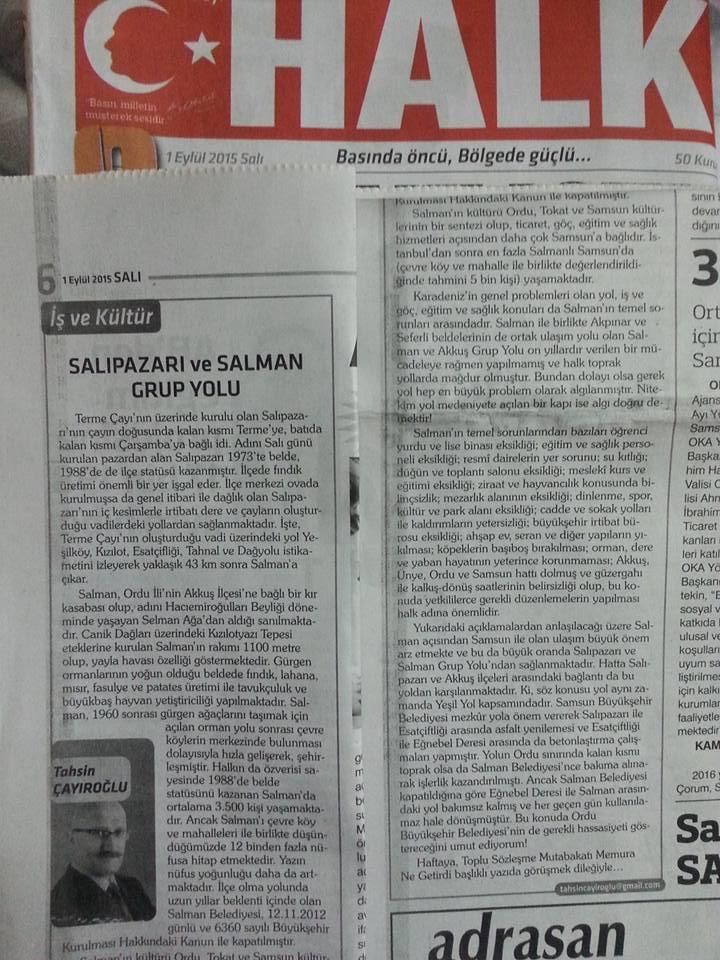 Salman Mahallesi Samsun ve Karadeniz'e Tanıtıldı. Tahsin ÇAYIROĞLU'nun Yazısı