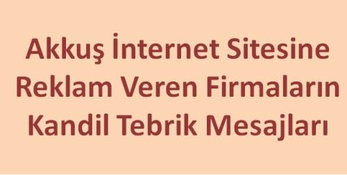 Sitemizde Reklamı Yayınlanan Firmaların Kandil Mesajı