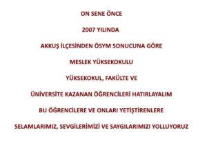 10 Sene Önce Akkuş'tan Üniversite Kazanan Öğrencileri