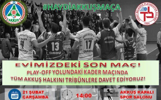 Akkuş'ta Son Maç Çarşamba Saat 14.00'de Akkuş Spor-Tokat Plevnespor. Haydi! Akkuşlular Kapalı Spor Salonuna