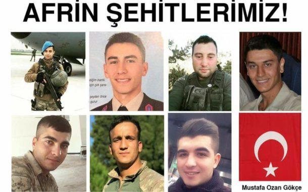 Afrin'de çıkan çatışmalarda şehit sayısı 8'e yükseldi