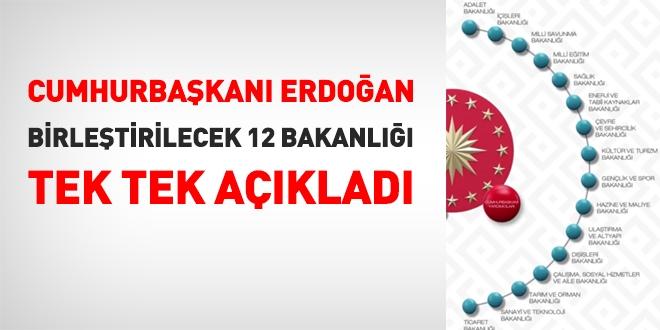 Cumhurbaşkanı Erdoğan Birleştirilecek 12 Bakanlığı Tek Tek Açıkladı
