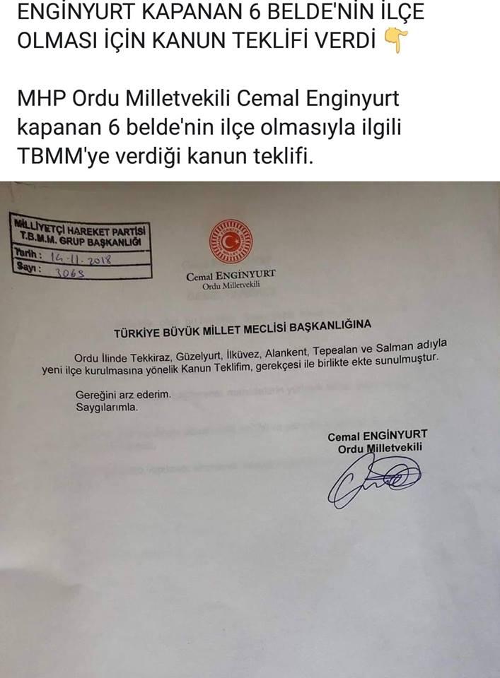 SALMAN'nın, Tekkiraz'ın ve 4 Köyün Daha İlçe Olması İçin MHP Ordu Milletvekili Cemal ENGİNYURT Kanun Teklifi Verdi.