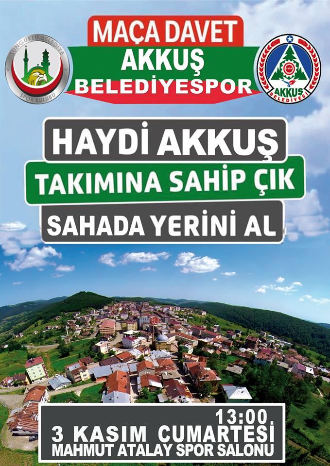 3 Kasım 2018 Saat 13.00'de Sungurlu Belediyespor - Akkuş Belediyespor Karşı Karşıya Geliyor. Sungur-Çorum ve çevre illerde yaşayan Ordulu ve Akkuşlu Hemşehrilerimizi Maça Bekliyoruz.