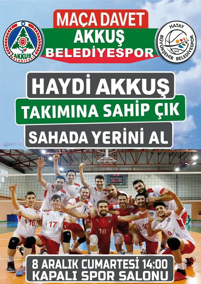Akkuş Belediyespor - Hatay Büyükşehirspor 8 Aralık Cumartesi Saat: 14.00'de Akkuş Kapalı Spor Salonunda Karşılaşıyor. Haydi Akkuşlular Takımı Destek İçin Maça Bekleniyorsunuz.