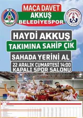 22 Aralık Cumartesi Saat: 14.00'de Akkuş - Torul Maç Akkuş Kapalı Spor Salonunda Tüm Akkuşlular Davetlidir
