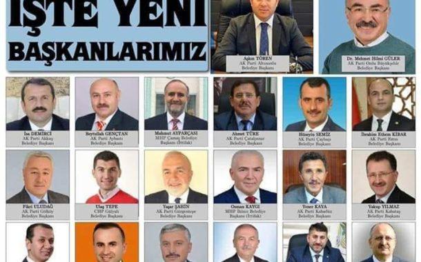Ordu İlinde 31 Mart 2019 Mahalle Seçimlerinde Belediye Başkanlığını Kazanan Adayların Listesi