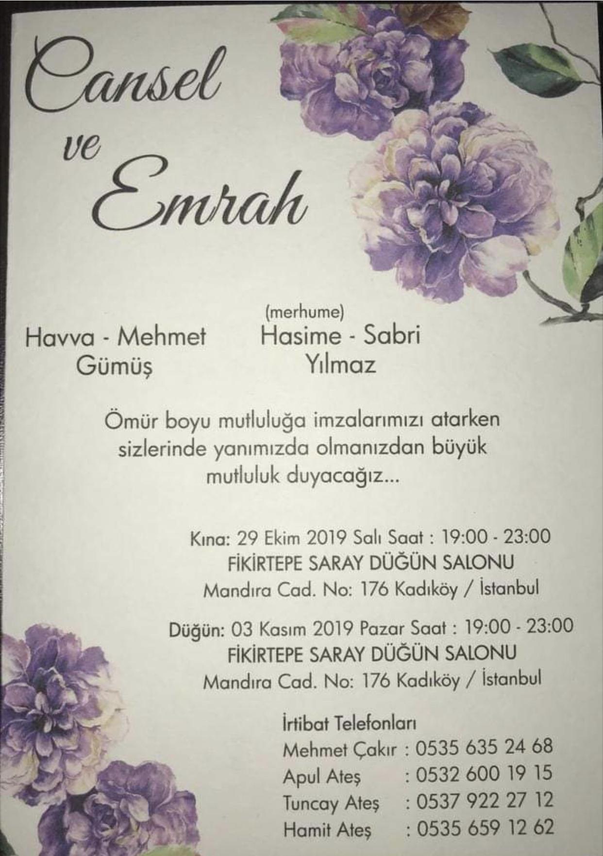 Sitemiz Köşe Yazarı Mehmet GÜMÜŞ Kızının Düğününe Sizleri Davet Ediyor