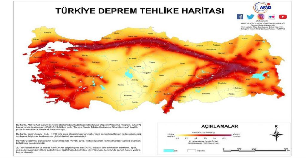 Akkuş İlçesi 1. Derece Deprem Kuşağında Bulunmaktadır. (Yeni Deprem Haritasında Gösterildi)