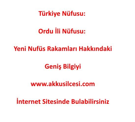 Türkiye Nüfusu 83 Milyon 154 Bin 997 Kişi Ordu İli Nüfusu 754.198 Kişi