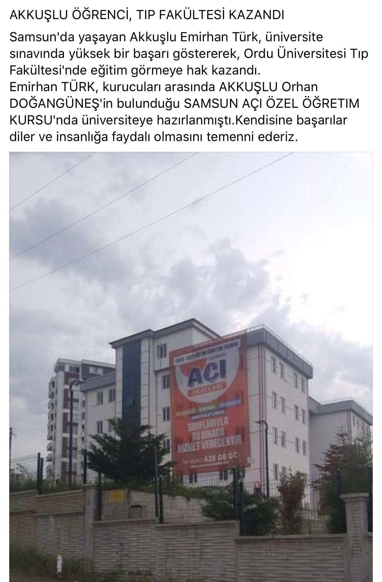 Akkuşlu Öğrenci Emirhan TÜRK Ordu Tıp Fakültesini Kazandı. Tebrikler