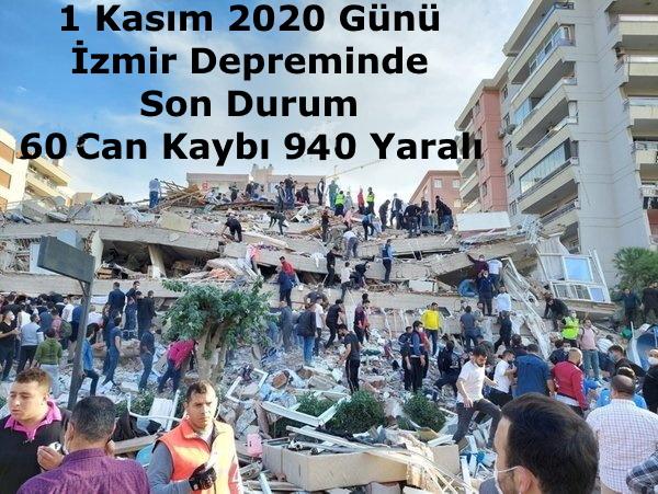 1 Kasım 2020 Tarihi İtibariyle İzmir Depreminde Can Kaybı 60 Yaralı 940 Kişi